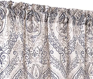 jinchan Tie Up Valance for Living Room Damask Printed Paisley Curtains Rod Pocket Drapes Multicolor Medallion Flax Window Cur