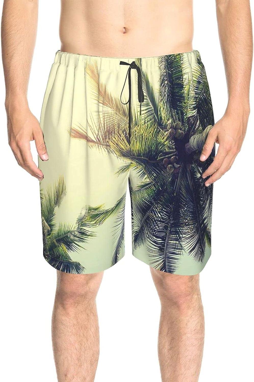 JINJUELS Mens Bathing Suits Coconut Trees Beach Summer Swim Short Boardshort Fast Dry Fashion Board Shorts Swimwear