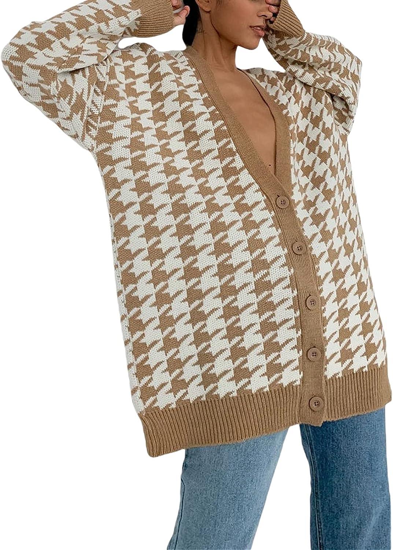 Women Summer Casual Knit Shirt Cardigan Loose Fit Long Sleeve Deep V Neck Button Top Blouse Y2k Streetwear