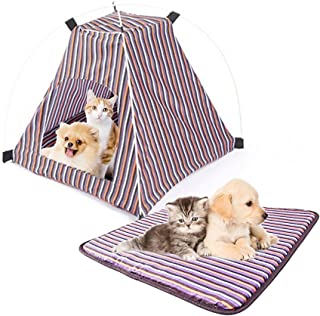 """Pet Tent,Portable Folding Dog Cat House Bed Tent Waterproof Indoor Outdoor Cat Tent Teepee,16.8"""" W x 16.8"""" L x 16"""" H (Red+Yellow)"""