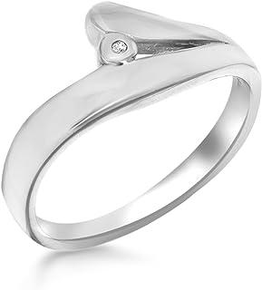 Tuscany Silver 标准纯银镀铑钻石镶嵌时尚戒指