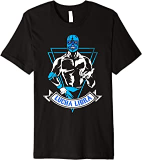 Lucha Libre Mask Mexican Blue Demon Fighter Gift Premium T-Shirt
