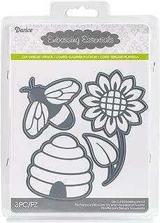 Darice 2014-100 Embossing Essentials Dies-Bee, Honeycomb, Flower