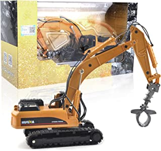 Construction Vehicle Toys Grab Excavator 1:50 Alloy Grab Wooden Vehicle Engineering Alloy Models Toys Gift for Kids And De...