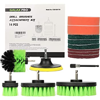 GALAX PRO 14 Pack Drill Brush Attachments Set, Power Scrubber All Purpose Cleaning Brush with Extend Long Attachment for Grout, Tiles, Sinks, Bathtub, Bathroom, Kitchen & Automobile