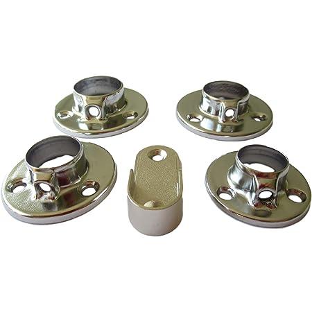 Schmitt-Beschläge Lot de 4 supports de fixation pour tube de 16 mm, 19 mm, 22 mm, 25 mm ou 30 x 15 mm en forme de U - Raccord mural à bride pour tube d'armoire en acier (4 x 30 x 15 mm ovale).