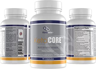 Ketolabs Keto Core Daily Multivitamin for Men and Women – Contains Electrolytes, Minerals, Vitamin B, C, D, E, & Probiotics – Zero Carb Health Supplement for Ketogenic, Intermittent Fasting, Atkins, and Low Carb Weight Loss Diets. 30 Day Supply. 90 Capsules.