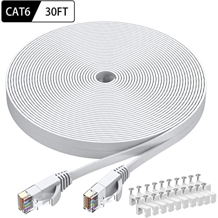 BUSOHE Cat-7 Flat RJ45 Computer Internet LAN Network Ethernet Patch Cable Cord Cat7 Ethernet Cable 40 FT Black 40 Feet