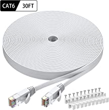 Cat6 Ethernet Cable 30 FT White, BUSOHE Cat-6 Flat RJ45 Computer Internet LAN Network Ethernet Patch Cable Cord - 30 Feet