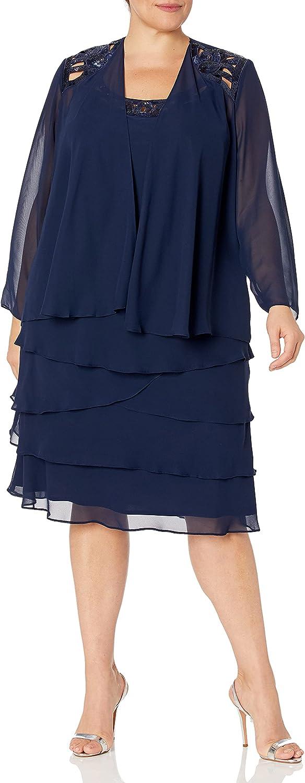 S.L. Fashions Women's Plus-Size Sequin Chiffon Jacket Dress