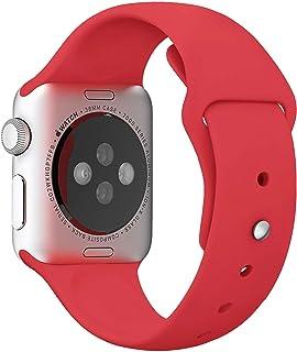 Apple Watch Kordon 1 2 3 4 5 Seri 42mm-44mm Silikon Kayış Kırmızı