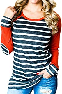 Women's Crew Neck Long Sleeve Top Raglan Baseball Striped T-Shirts