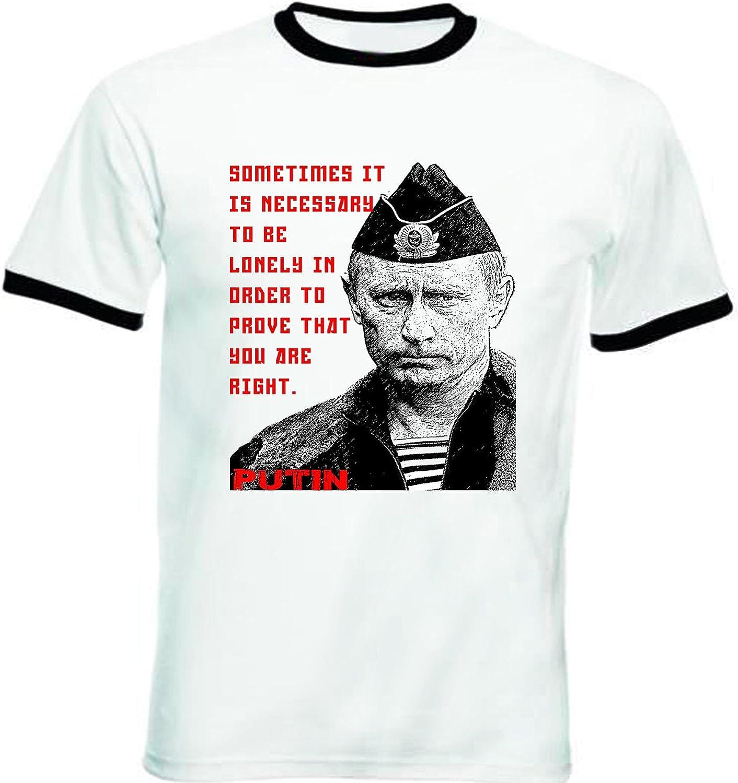 teesquare1st Vladimir Putin Russia 1 - Tshirt de Hombre con Bordes Negros Tshirt