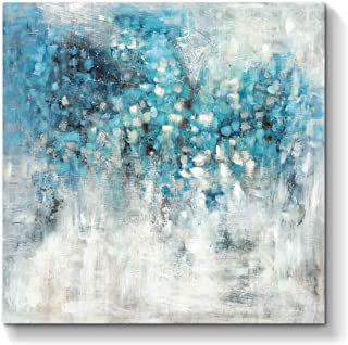 Abstract Wall Art Canvas Artwork: Blue Abstract Painting Picture on Canvas for Bedroom