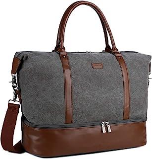 HB-28 Ladies Women Canvas Travel Weekender Bag Overnight Carry-on Duffel Tote Bag (Grey)
