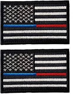 2 Pieces Tactical USA Flag Morale Patch Embroidered American Flag Patch Hook&Loop Fastener Backing Emblem