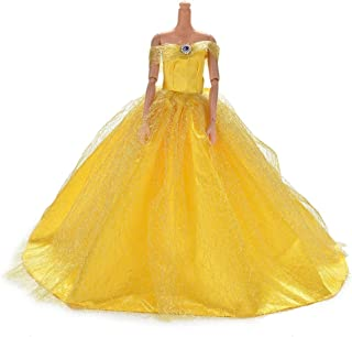 JiaUfmi 1pcs Fashion Dolls Dresses Wedding Trailing Skirt Dress Clothes Yellow