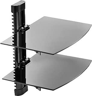 Mount Factory - Adjustable Wall Mount / Glass Floating AV DVD Component Shelf - 2 Tier - Black