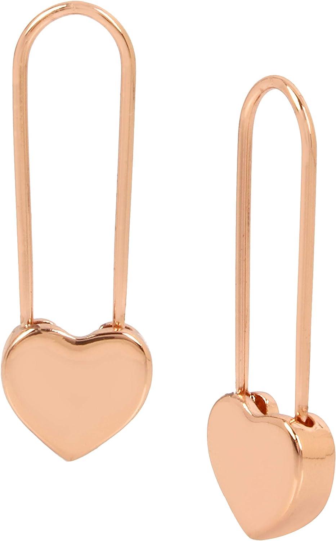 Betsey Johnson Rose Gold Heart Safety Pin Earrings