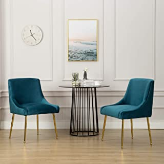 Modern | Contemporary Velvet Upholstered Dining Chair, Guest Chairs with Polished Gold Metal Legs, for Living Room/Kitchen/Vanity/Patio, Set of 2 (Teal Blue)