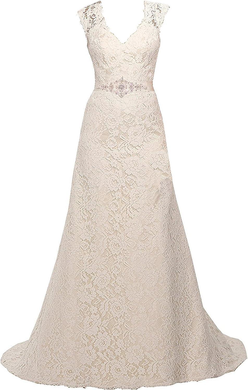 Mypurplec V Neckline A Line Cap Sleeve Lace Over Satin Wedding Dress