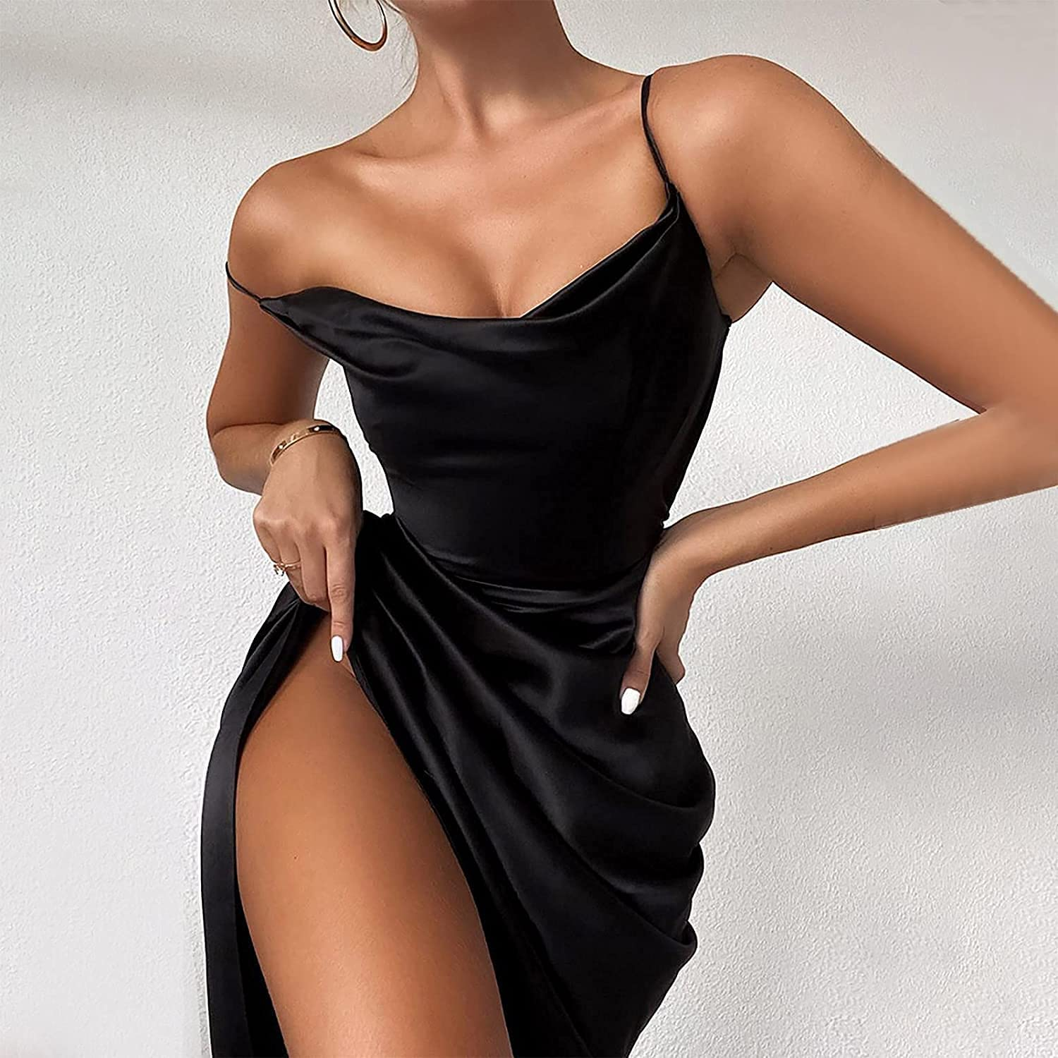 Xingge Womens Sexy Spaghetti Strap Satin Dress Sexy Backless Ruched Asymmetrical Hem Cocktail Evening Party Gown Cami Dresses