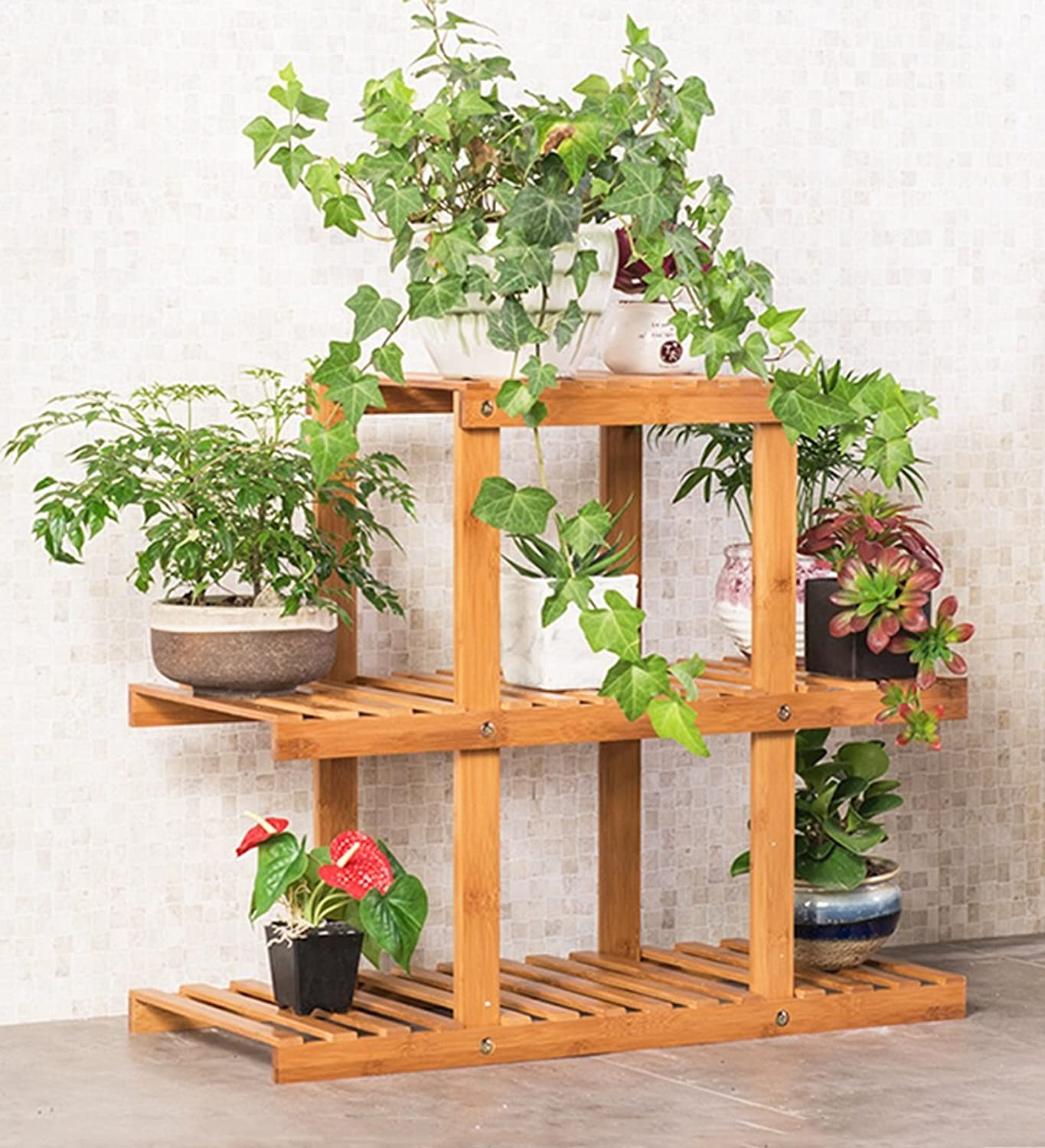 Qing MEI Multi-Layer Solid Wood Flower Shelf Indoor Living Room Floor Wooden Flower Stand Ground Green Lollo Meat Balcony Flower Pot Rack A++ (color   D)