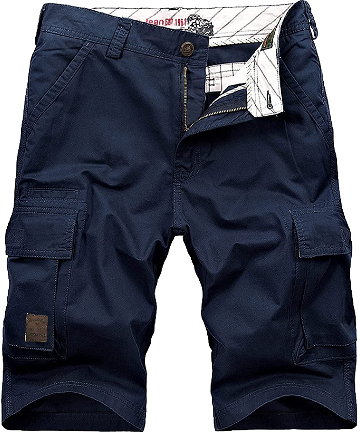 Men's Multi-Pocket Solid Color Cargo Shorts Trend Stitching Trend Large Size