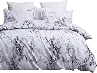 DeerHome Boho Style Bedding Set Marble Ethnic Bedding Sets Microfiber Duvet Cover Set, Print Floral Design Marble Style Bedding Set, King Size