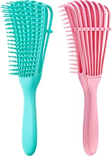 2 Pieces Detangling Brush for Hair Textured 3a to 4c All Kind of Thick Long Hair, Knots Detangler Easy to Clean (Pink, Green)