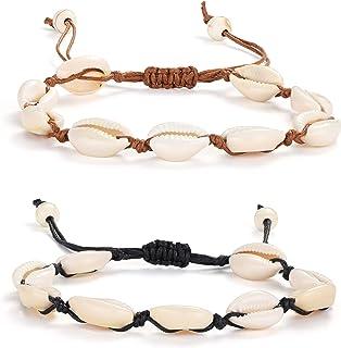 Adramata 2 PCS Shell Anklet Bracelet for Women Unisex Handmade Beach Foot Cowrie Bead Jewelry Regolabile