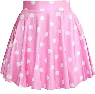 Women Girls Stretchy Polka Dot Flared Casual Mini Skirt