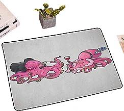Printed Floor Mat Bath Mat Machine Washable Octopus Door Rugcartoon Art Illustration of Octopus in Fun Retro Costumes at A...