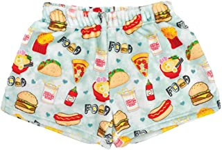 iscream Big Girls Silky Soft Plush Fleece Shorts - Snacks & Sweets Collection