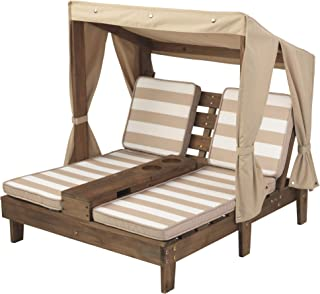 KidKraft Double Chaise Lounge with Cup Holders, Kids Outdoor Furniture, Espresso with Oatmeal and White Striped Fabric ,Gi...