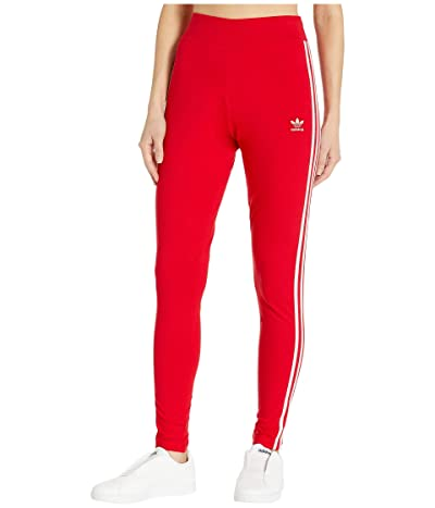 adidas Originals 3 Stripes Tights (Lush Red/White) Women
