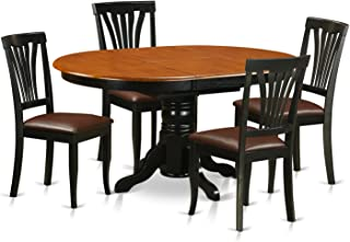 AVON5-BLK-LC 5 Pc Dining room set for 4-Oval dinette Table with Leaf and 4 Dining Chairs