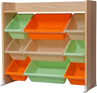 Iris Ohyama Kids Toy Rack TKTHR-39 Meuble de Rangement à Jouets pour Enfants, 1 étagère/9 boîtes Amovibles, Engineered Woo...