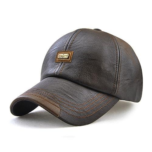 4bdca9f5250 Roffatide Men s PU Leather Baseball Cap Dad Hat Strapback Autumn and Winter