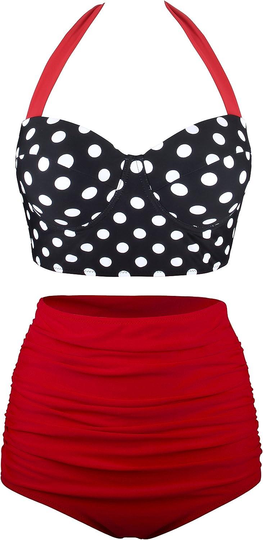 Angerella Women Vintage Polka Dot High Waisted Bathing Suits Bikini Set