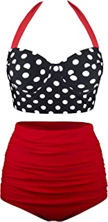 Women Vintage Two Piece Swimsuits High Waisted Bathing Suits with Underwired Top
