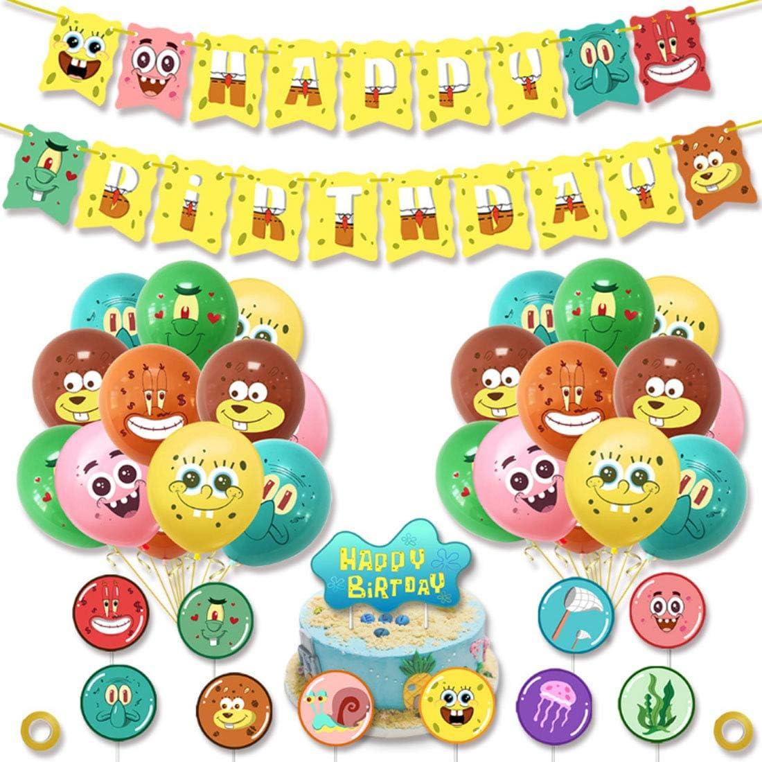 Kit Globos Látex -ZSWQ 38PiezasDecoración Fiesta de Globos, SpongeBob Banner Globos Kit Happy Birthday Adorno de Torta para SpongeBob Decoración para Fiestas de Cumpleaños