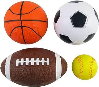 Set of 4 Sports Balls for Kids (Soccer Ball, Basketball, Football, Tennis Ball) By Bo Toys