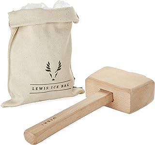 """Viski Lewis Bag and Mallet Bartender Kit & Bar Tools Kitchen Accessory, 12"""", Ice.."""