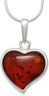 925 Sterling Silver Heart Pendant Necklace with Natural Baltic Amber Gemstone. 20
