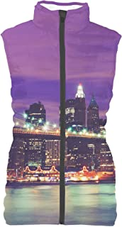 Rainbow Rules New York City at Night Mens Puffer Vest Bodywarmer Gilet