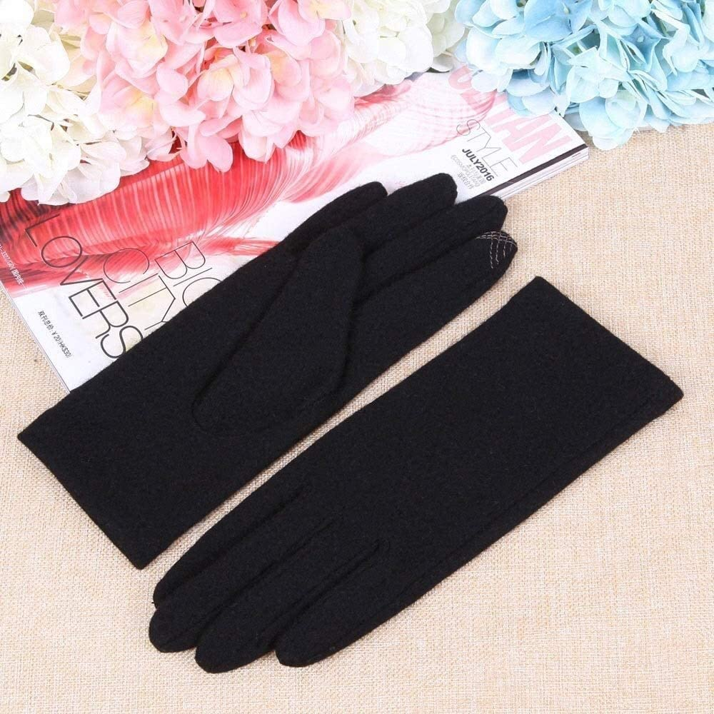 KEKEYANG Gloves Female Winter Driving Wool Cloth Gloveswarm Lining Gloves Driving Single Layer Thin Section Korean Version of The Glove Touch Screen Warm Girls Gloves Gloves Mittens