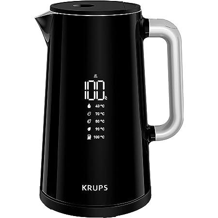 Krups BW8018 Smart'n Light Bouilloire électrique 5 niveaux de température Affichage numérique 30 minutes Fonction de maintien au chaud | Auto-Off | Capacité 1,7 L | Construction double paroi | Noir