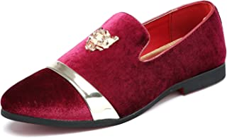 SANTIMON Mens Velvet Loafers Slippers with Gold Buckle Wedding Dress Shoes Slip-on Smoking Flats Black Blue Red