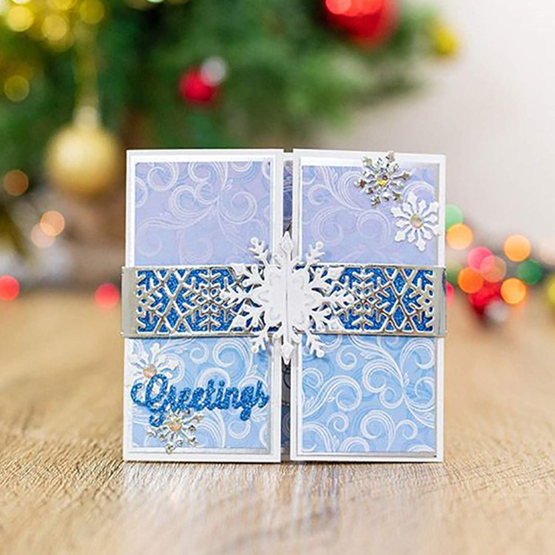 Christmas Snowflake Shape Cutting Die Greeting Card Making Tool Xmas Decor Mold for Scrapbooking,DIY Craft,Gift Silver Metal Cutting Dies Cut Metal Scrapbooking Stencils ManFull Cutting Dies